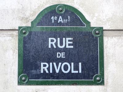 Paris street sign of the Rue de Rivoli