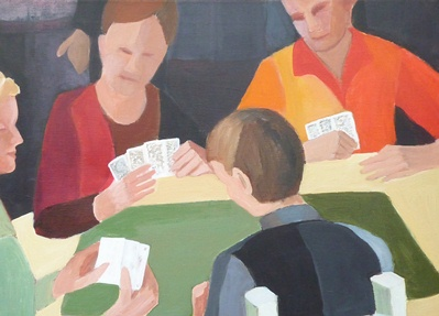 Painting of people playing cards