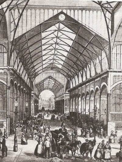 Line drawing of old Paris covered glass market for BCWA talks group